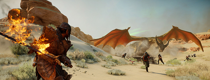 fighting a dragon at the Dragon age inquisition demo