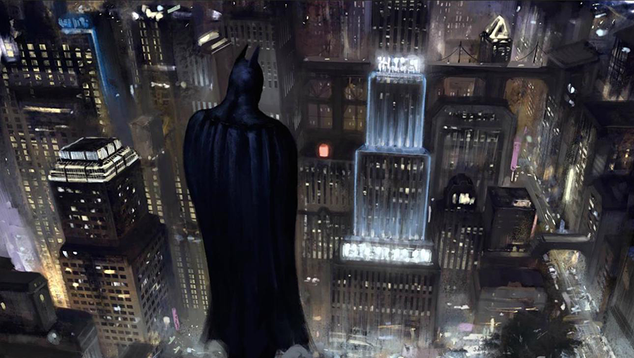 Batman looking over Gotham City
