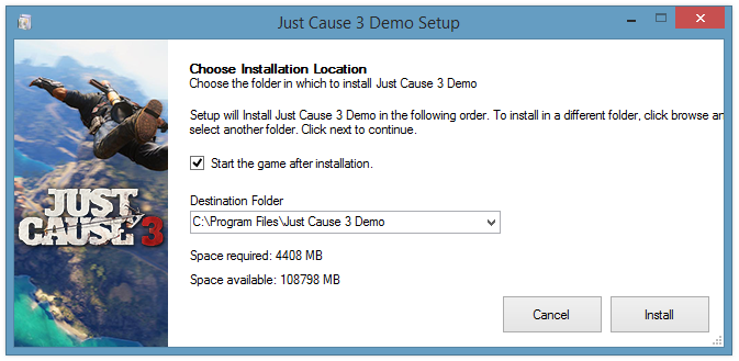 just cause 3 demo setup process